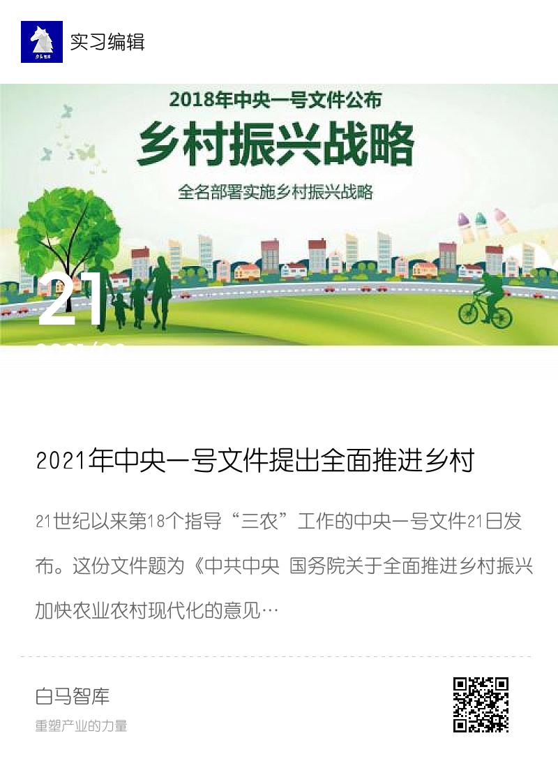 2021年中央一号文件提出全面推进乡村振兴分享封面